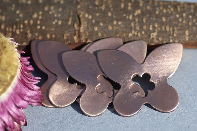 Copper, Brass or Bronze Butterfly Fantastic Blank with flower for Enameling