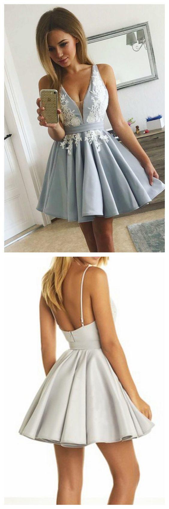 Silver Homecoming Dresses,Satin Homecoming Dresses,Lace Homecoming Dresses,