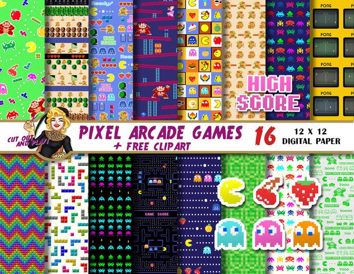 Arcade Games Scrapbook digital paper, pacman clipart, arcade party favors, gamer