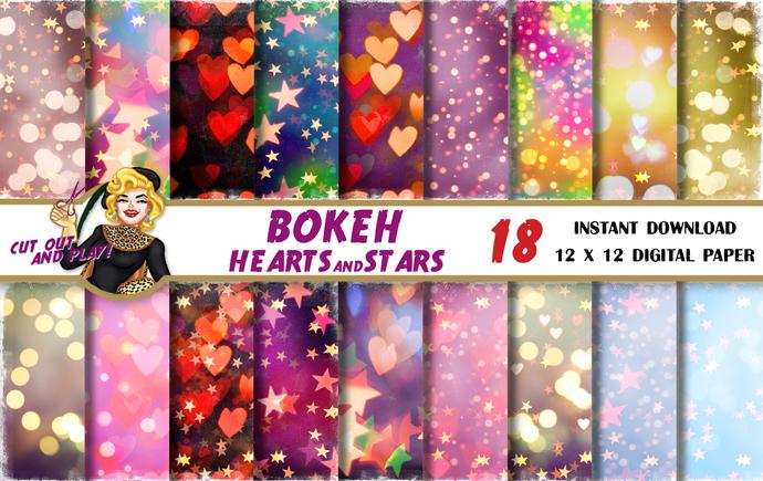 Valentine's Star Bokeh digital paper, Heart bokeh, bokeh background, digital