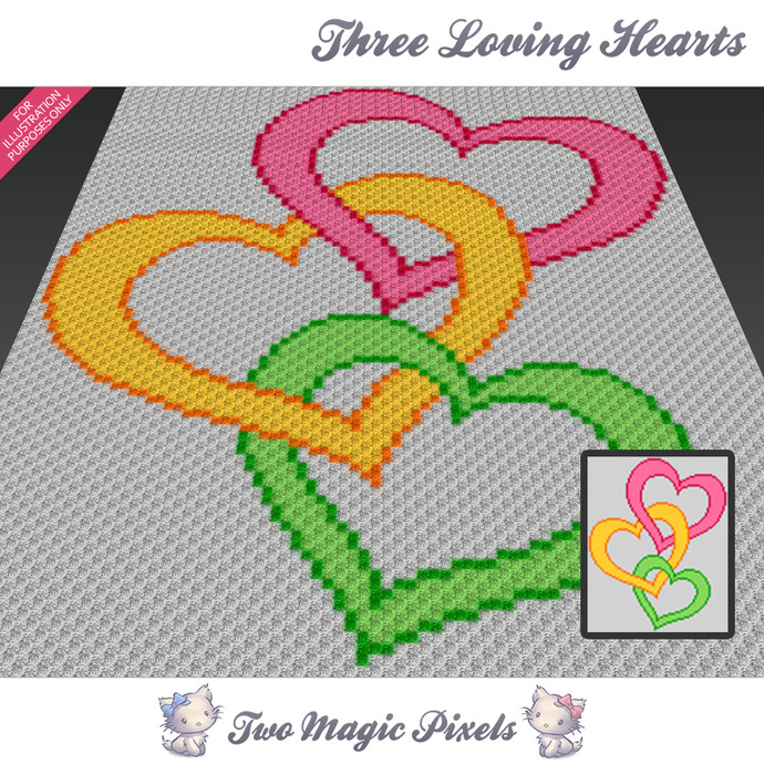 Three Loving Hearts crochet blanket pattern; c2c, cross stitch graph; pdf