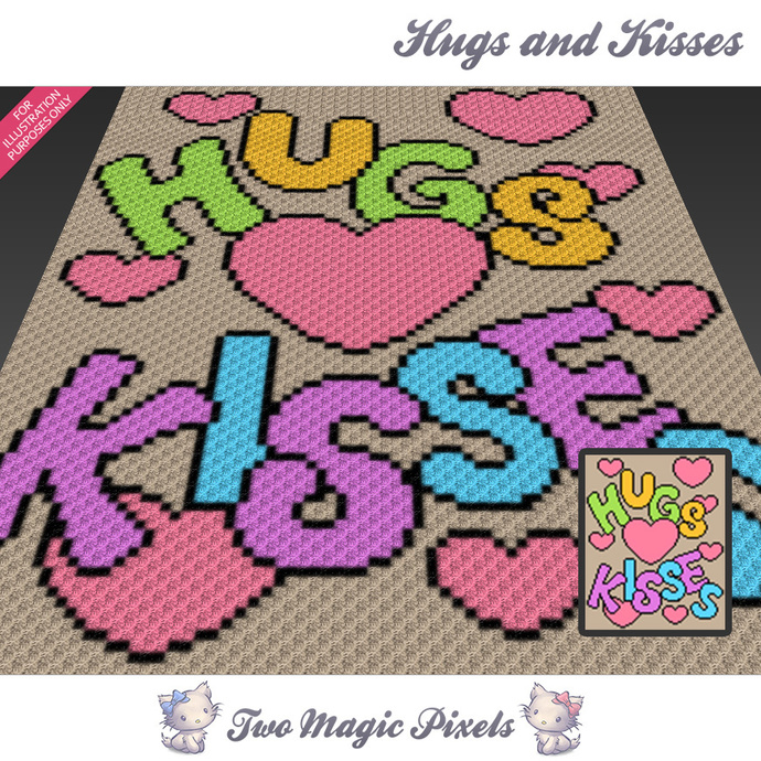 Hugs and Kisses crochet blanket pattern; c2c, cross stitch graph; pdf download;