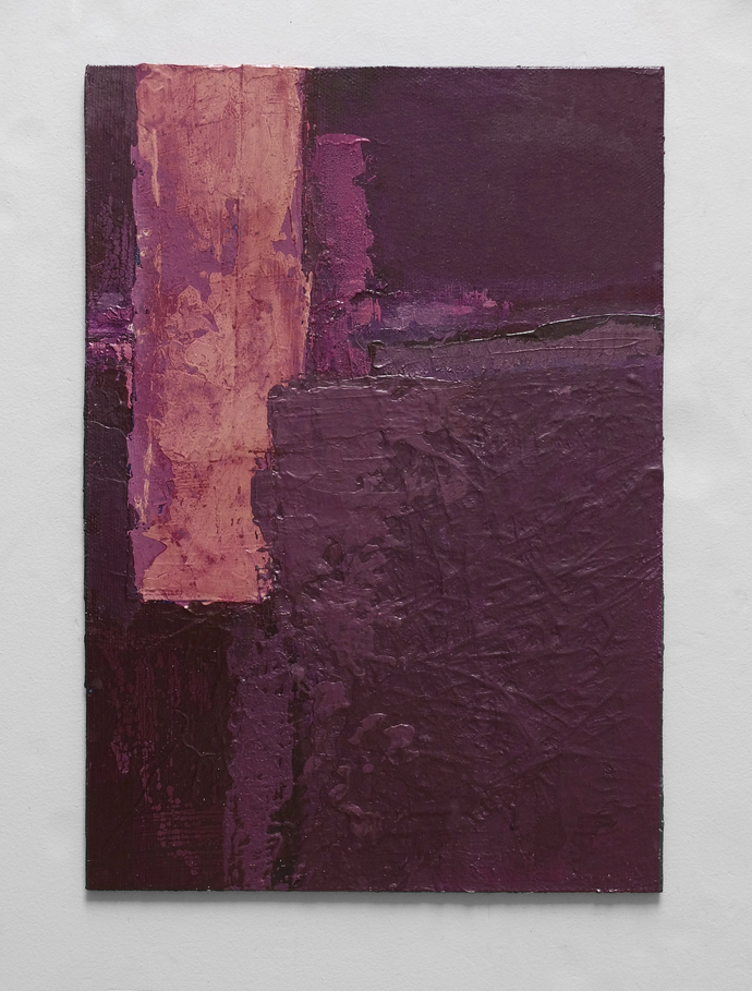 set of 3, small abstract, Purple abstract, textured, contemporary art,