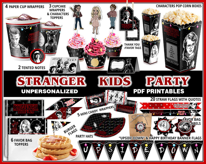 Stranger things party, Upside down party printables, birthday banner, party