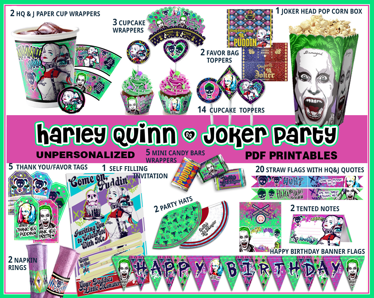 Harley Queen Birthday Party Suicide Squad By Cutoutandplay On Zibbet