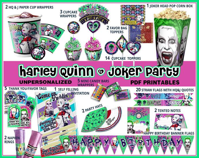 Harley Queen Birthday Party Suicide Squad Quinn Supplies