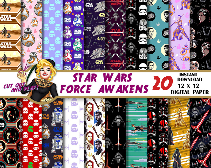 Star Wars Force Awakens Digital Paper Rey BB 8 Kylo Ren