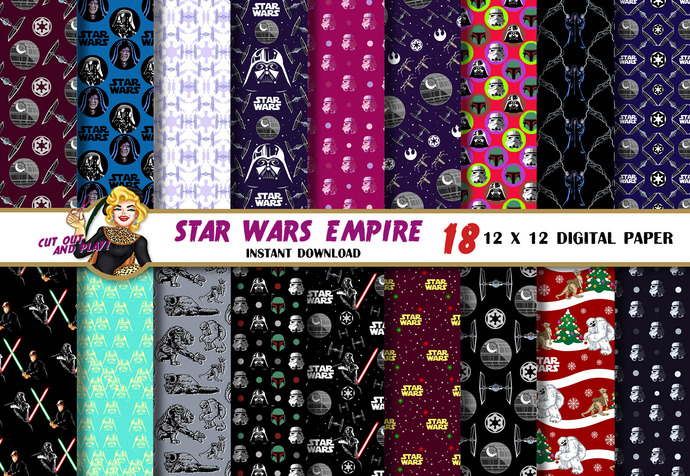 Star Wars Digital Paper Darth Vader By Cutoutandplay On Zibbet Awesome Star Wars Pattern