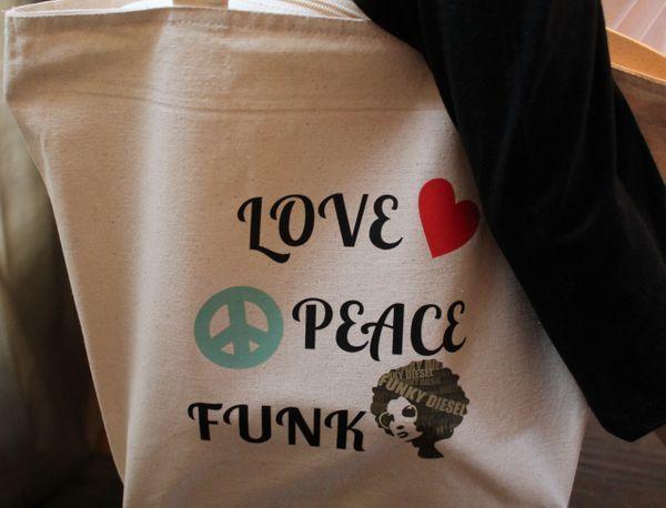 Love, Peace, And Funk Tote Bag