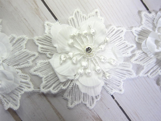 Layered Flower Applique - 3 inch White