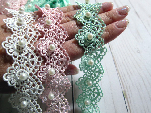 1yd Beaded Shabby Venice Lace - 1 1/2 inch White Pink, Mint