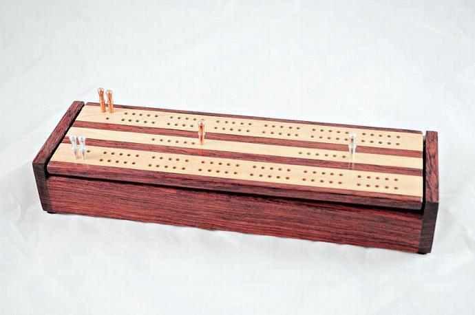 Dual Deck Wood Cribbage Board Box - Bubinga & Maple