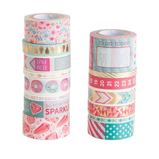 Recollections Mix 1 Large Washi Tapes Tube - 15 Washi Tapes in a Tube - Gold