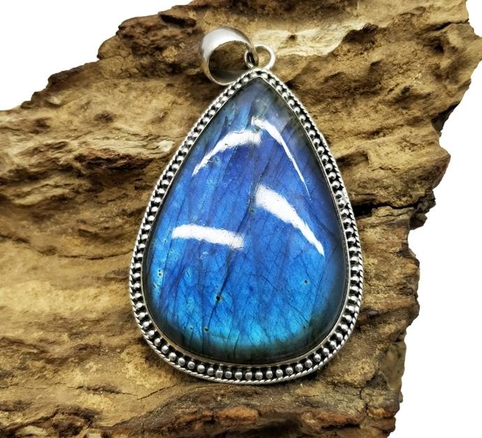 925 Sterling Silver Labradorite Pendant,Moonstone Pendant,Black Rainbow