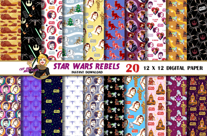 Star Wars digital paper, Rebels, Han Solo, Luke Skywalker, Princess Leia,