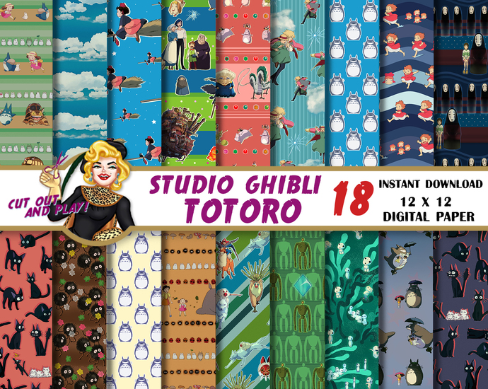 Totoro digital paper, Studio Ghibli, Totoro birthday party, Kiki, Howl,