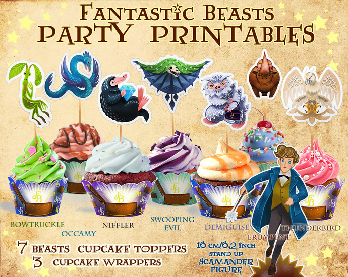 Fantastic Beasts cupcake toppers, Harry Potter party, Niffler, Bowtruckle, Harry