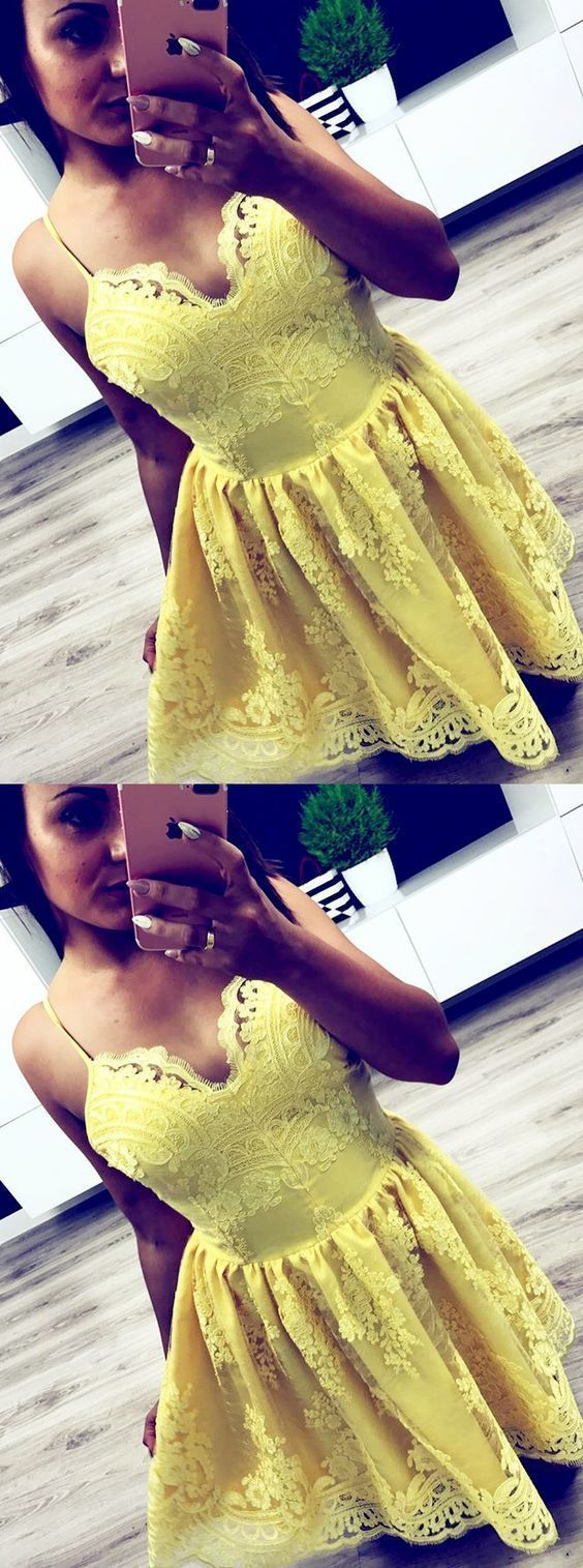 Yellow Lace Short Homecoming Dress, Simple Short Prom Dress, Spaghetti Sexy