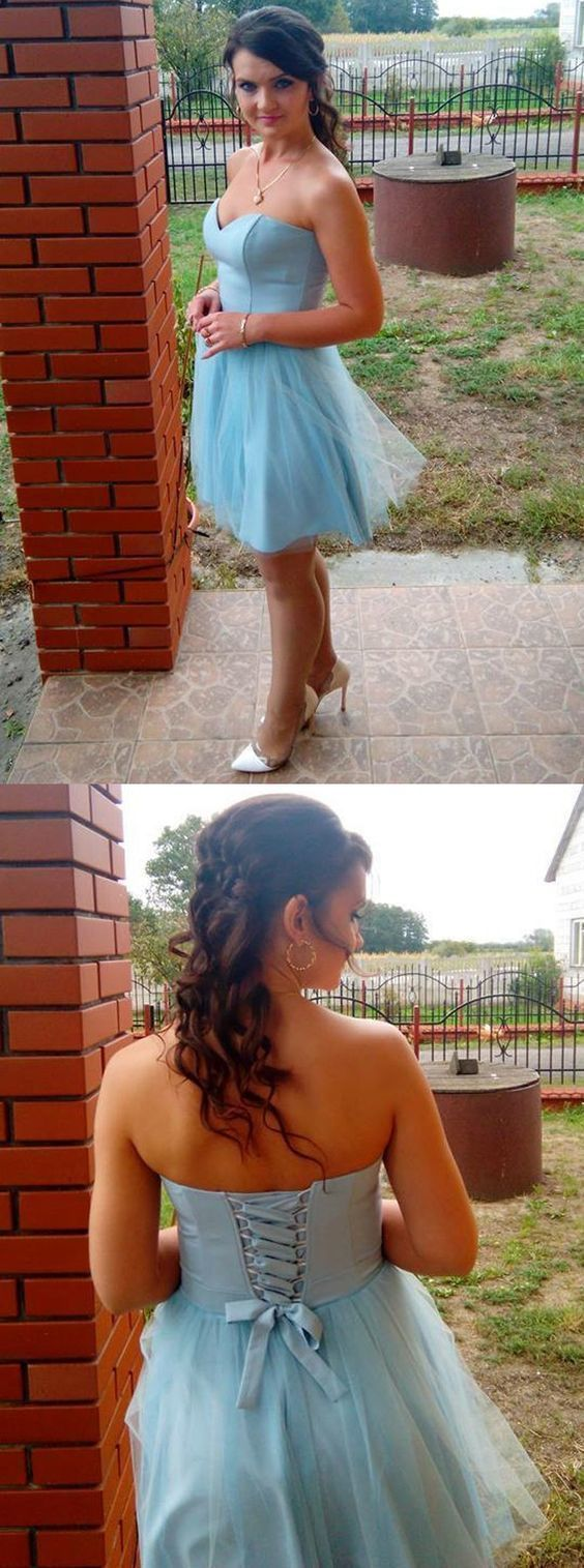 Light Blue Short Homecoming Dress, Sweetheart Lace-Up Tulle Party Dress,Sexy