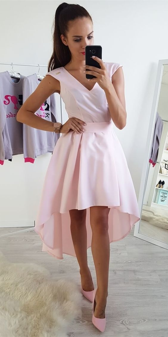 A-Line V-Neck Cap Sleeves High-Low Pink Homecoming Dress,Spaghetti Sexy Cocktail