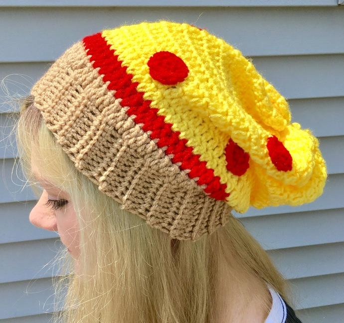 Pizza Slouchy Hat Crochet Pattern By Crafty Kitty Crochet On Zibbet