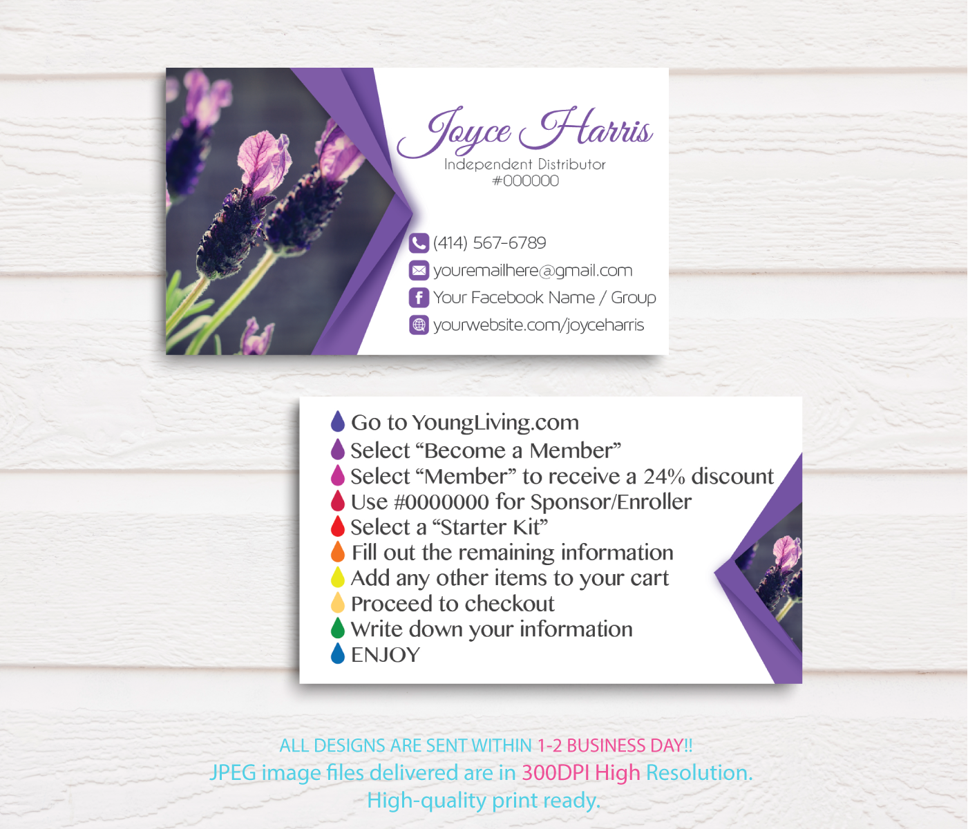 File Check Out Card young living business cards, personalized young living business card,  digital file card, yl12b