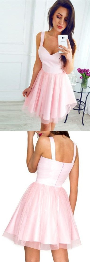 Princess Short Pink Tulle Homecoming Dress,Sexy Cocktail Dress,Cheap Prom