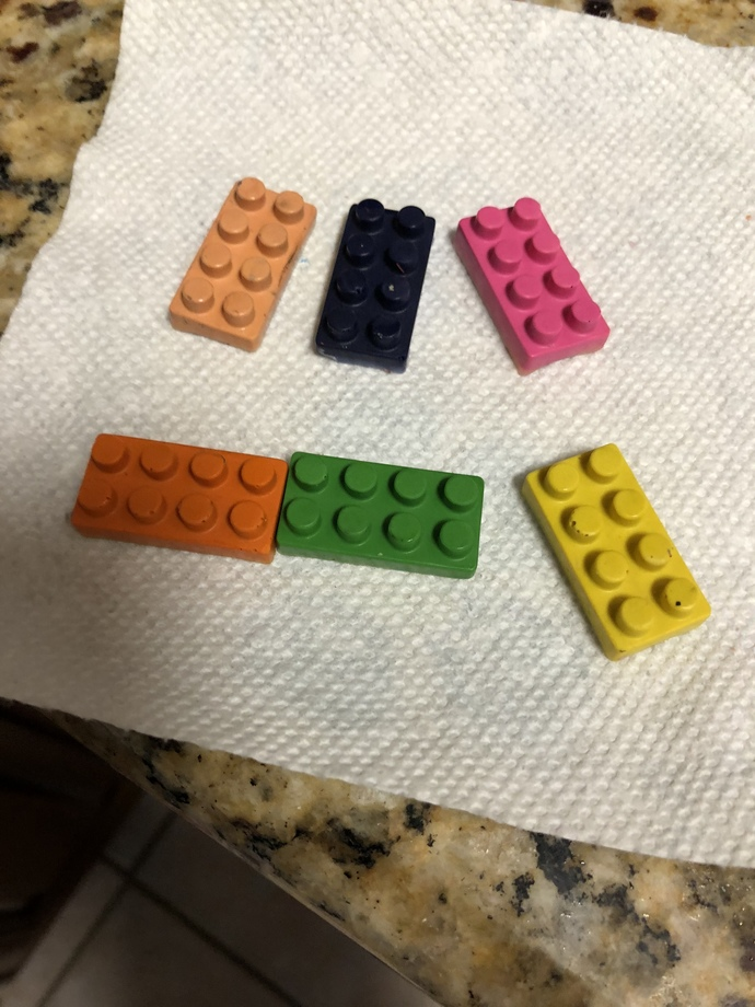 Custom designed LEGO shaped Crayons
