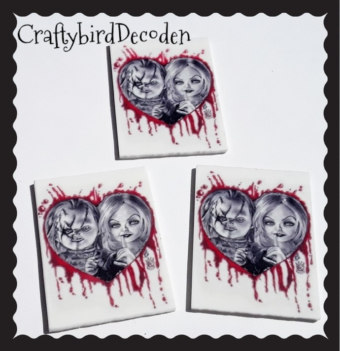 Resin 3 Bride of Chucky themed Planer resin Cabochons. Chucky & Tiffany.