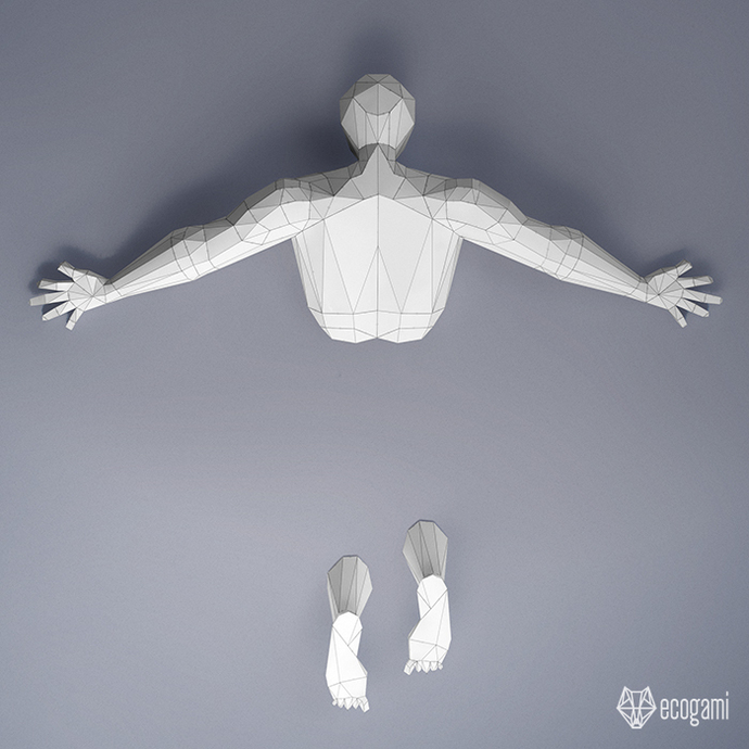 Falling man papercraft statue | DIY wall mount | 3D papercraft sculpture |