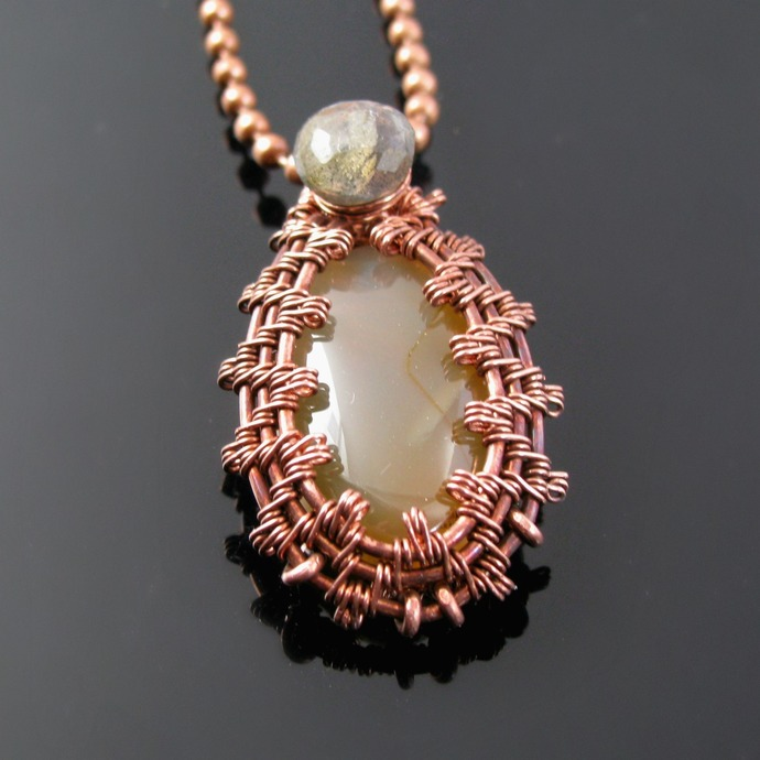 Wire woven pendant with agate and labradorite