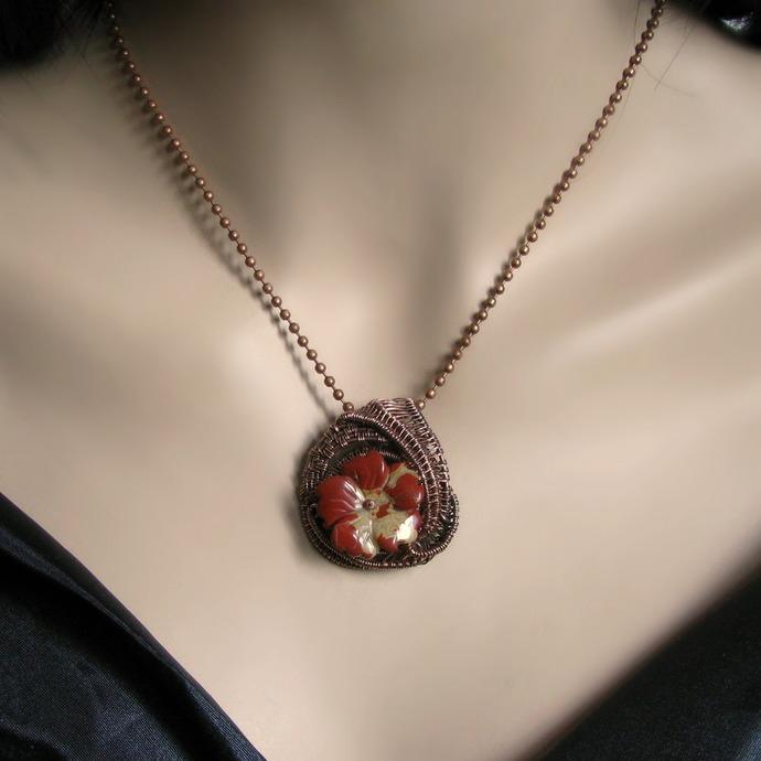 Wire woven jasper flower pendant