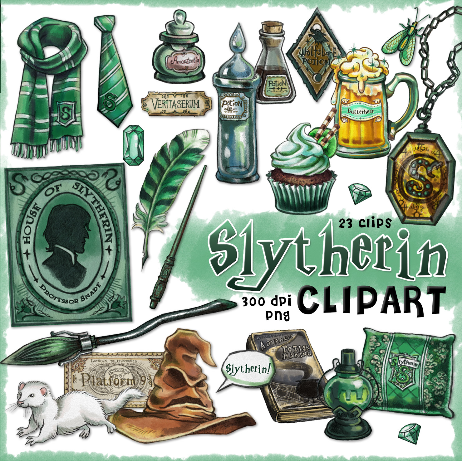 slytherin clipart  harry potter clipart  by cutoutandplay