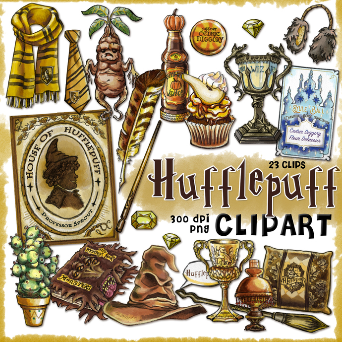 Hufflepuff clipart, Harry Potter clipart, Harry potter party, props, printable,