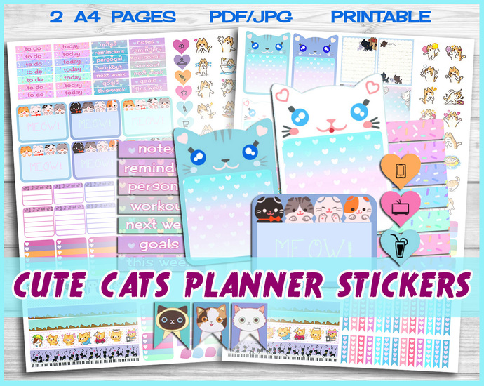 Cat planner, kawaii cat stickers, Blue planner, printable Planner Stickers, Cute