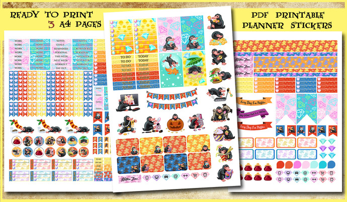 Niffler printable Planner Stickers, Harry Potter planner, journal, Fantastic