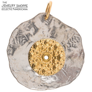 Pewter & Brass Fossil Layered Pendant