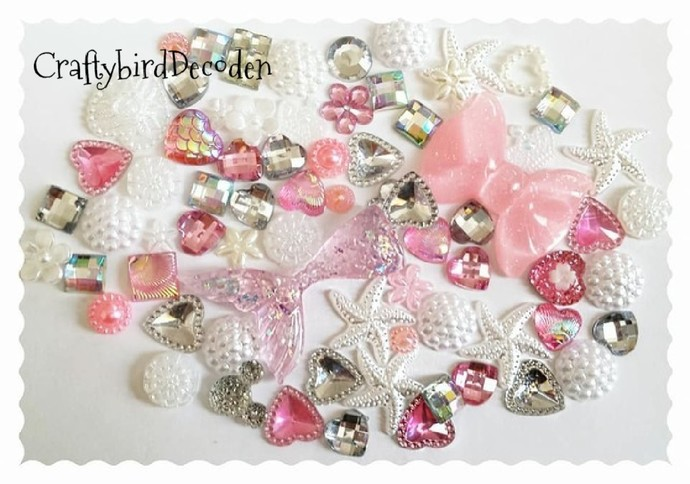 Stunning glitter mermaid themed decoden kit, pink glitter tail, embellishments,