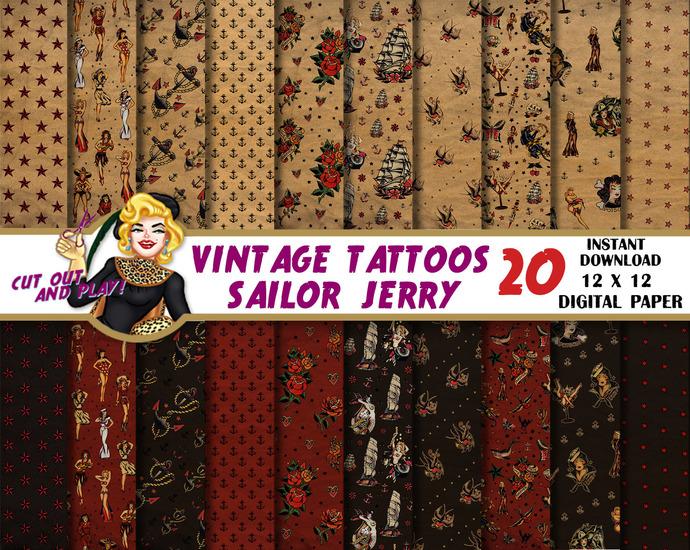 Tattoo digital paper, Sailor Jerry, Tattoo scrapbook, pinup, pinups, wrapping