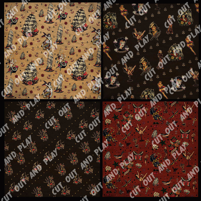 Tattoo digital paper, Sailor Jerry, Tattoo scrapbook, pinup, pinups, wrapping