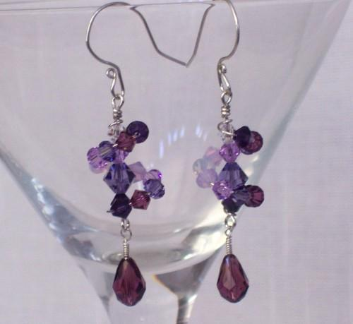 Shades of Violet Dizzy Drop Earrings