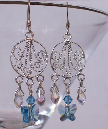 Swarovski Crystal Chandeliers - Aquamarine Butterfly