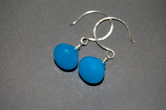 AAA ocean blue chalcedony onion briolette earrings