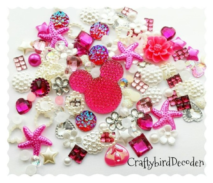 Big Sparkle Minnie mouse Diy decoden kit. Bright Pink mix. Embellishments, Cabs.