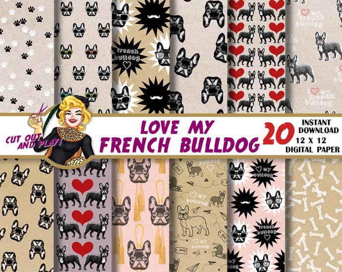 French Bulldog digital paper, bulldog scrapbook, dog paw, card, decoration,