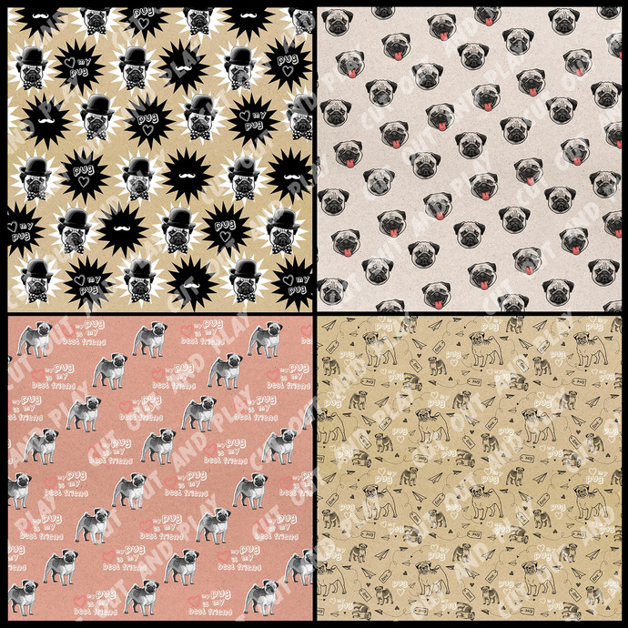 Pug digital paper, Pug scrapbook, dog, dog paw, card, animal paper, Scrapbooking
