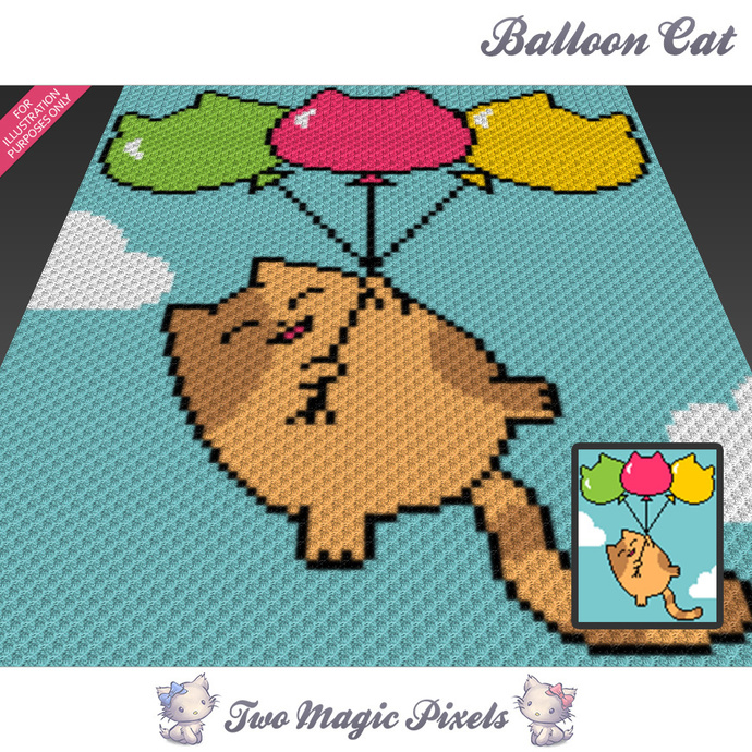 Balloon Cat crochet blanket pattern; c2c, cross stitch graph; pdf download; no