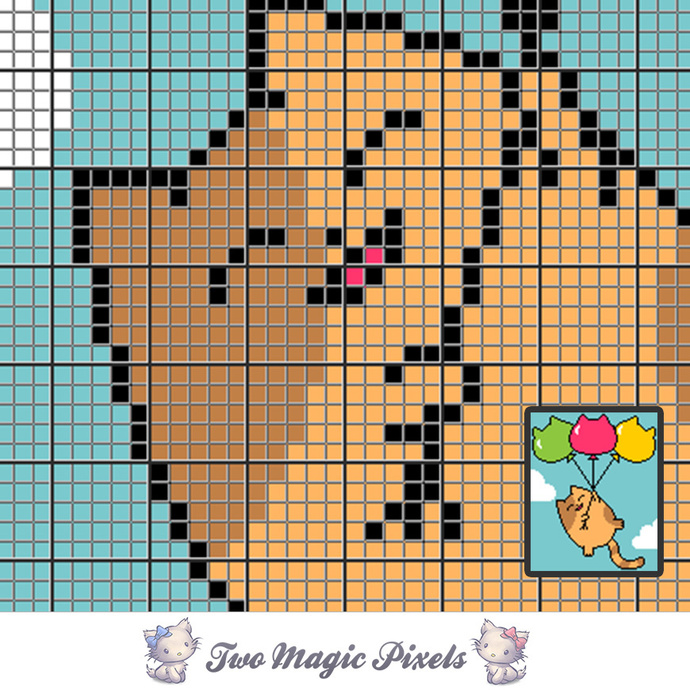 Balloon Cat crochet blanket pattern; c2c, cross stitch graph; pdf download; no