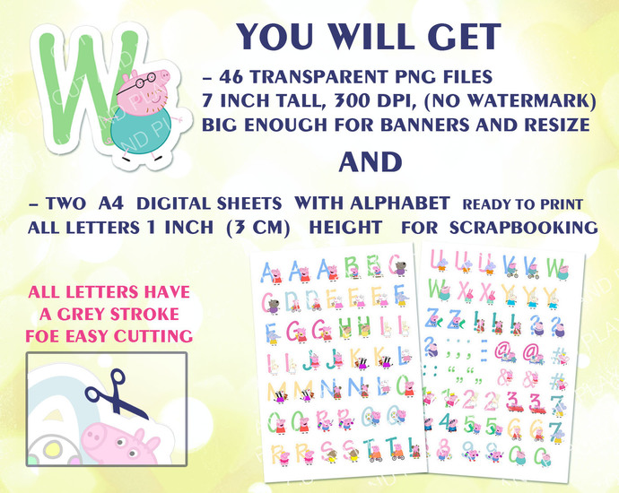 Peppa Pig Alphabet, clipart, Peppa pig birthday banner, birthday decorations,