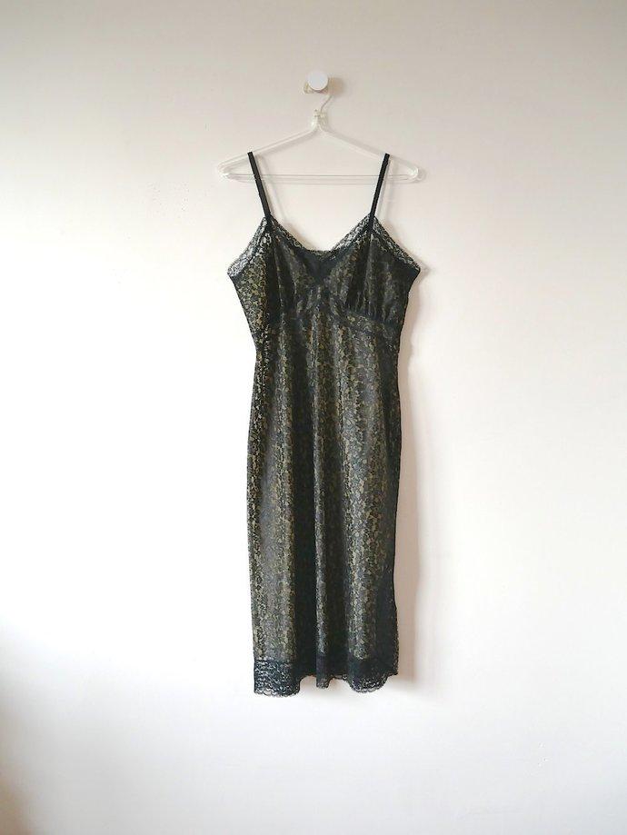 Vintage 1950s Black Lace Slip with Nude Lining.  Van Raalte lingerie slip dress